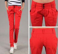 2013 New Autumn Candy color Button Loose Casual Women Jeans Cotton Long Haren Pants,KL9002
