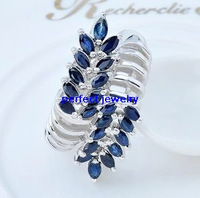 Sapphire ring Free shipping Sapphire rings Natural blue sapphire  925 sterling silver 22pcs gems Fashionable women's jewels