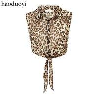 A181 2013 Fashion women tops leopard printed Tie Front Crop T Shirt  women clothing Free Shipping