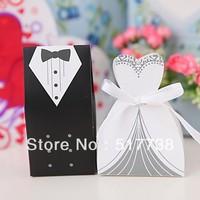 Free Shipping 100pcs Ribbon Bride and Groom Wedding Favor Boxes Gift box Candy box