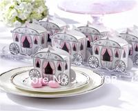 High Quality Free Shipping 100pcs Prince Princess Pumpkin Carriage Gift Wedding Favor Candy Box