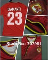 2014 Top Thailand Quality Guangzhou Evergrande Player Version Diamanti Elkeson Home Red Football Soccer Jerseys Uniforms Shirts
