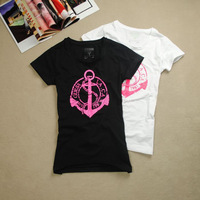New Arrival new 2014 brand fashion summer t-shirt women tops for women short tee shirts print anchor t shirts