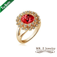 Hot Selling 18K Gold Plated Austrian Crystal Flower Rings Costume Jewelry Ring Free Shipping