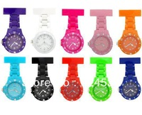 Free shipping 2013 Fashion Cheap Colorful Rubberized Plastic Nurse pocket Watch, fob watch