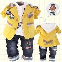 SXT030,4sets/lot,2013 Factory outlet baby clothes set Cartoon boys 3pcs set jacket+tees+jeans autumn kids clothing set Wholesale