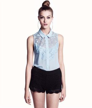 Famous Brand Women Blouses Lace  2014 Summer Tops Crochet  Sleeveless Plus Size XL Chiffon/Polyester Shirt Spring Autumn CL347