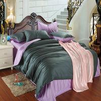Luxury 4pc silk bedding set soft Tencel duvet/quilt cover bedsheet bedlinen sets for King queen coverlet bedcover solid color