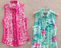 Free Shipping new 2014 brand fashion women blouse chiffon women blouses blusas femininas tops for women floral collar blouse