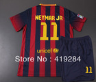 New 13/14 MESSI / NEYMAR JR Children Soccer Jersey Suits, Selling Top-Quality Spanish Kids Shirts / Youth Uniforms.(China (Mainland))