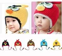 On Sale! Baby Autumn & Winter Bomber Hat Kids Knitted Ear Muff Cap Baby Crochet Ear Hat Cute Birds Children Hat Free Shipping