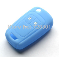 Blue Silicone Key Case Cover Holder Protecting Bag For Chevrolet Cruze Aveo Sonic Volt Malibu Impala With 3 Buttons Flip Key