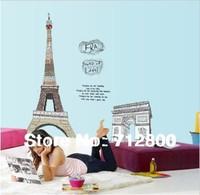 1pc Paris Eiffel Tower decoration Living Room Large Vinyl Wall Art Decals Bedroom Wall Stickers 3D Wallpaper On Walls 150*108cm