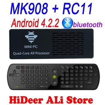 MK908 Quad Core Rk3188 2GB/8GB Bluetooth Android 4.2.2 tv stick Google TV Box Mini PC+ RC11 air mouse keyboard Free Shipping