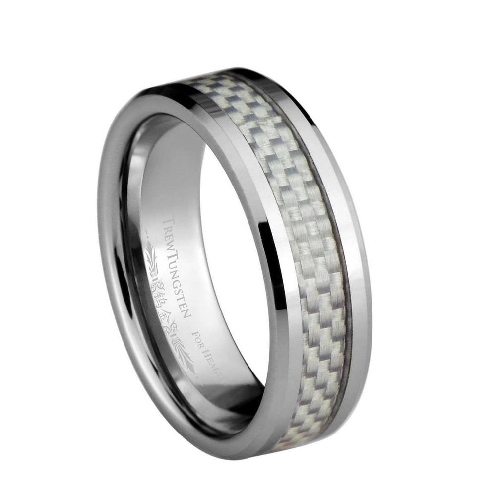Branco fibra de carbono Inlay carboneto de tungstênio largura de banda de 6 mm / TURI0025M(China (Mainland))