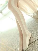 Lolita Princess Sidepiece creamy white dot lace vintage pantyhose velvet vertical stripe