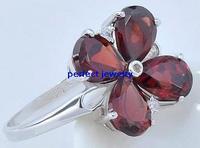 Garnet ring Free shipping Garnet rings Natural red garnet 925 sterling silver  Red flower jewelry 4PCS gems