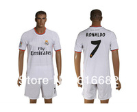Ronaldo soccer uniforms 13-14 Real Madrid home #7 RONALDO White soccer football jersey+short kits,embroidery logo