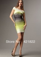 Hot selling 2013 women sexy bandage off shoulder beige gradient color gray yellow HL bandage dress prom cocktail elegant  hl