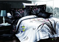 Reactive printing butterfly pattern cotton bedding set king size comforter set queen white and black duvet cover/bed sheet