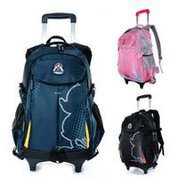 New Trolley school bag male primary school students travel schoolbag detachable female child school bag on wheels free shipping