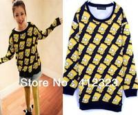 HOT fashion female women lady girls cartoon warm sweater vintage loose outerwear coat