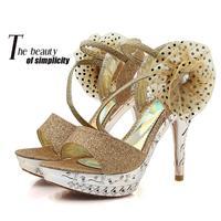 2014 new women high heels platform sandals flower silver gold  rhinestone sandals  open toe sandals rhinestone transparent