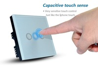 3 Gang Touch Glass Light Switch with blue LED Backlight,  UK Standard Home Touchscreen Wall Touch Switch