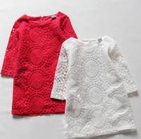 5pcs/lot freeshipping,2013 New arrive baby cotton dress fashion girl Half Sleeve red dress autumn children clothing wholesale