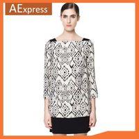 Free Shipping, 2013 New Fashion Women Summer Dress With Three Quarter Sleeve Geometric Print Elegant Patchwork Dress