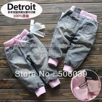 free shipping whole sale Autumn and winter baby girl  trousers casual pants clip jeans pants children's clothing