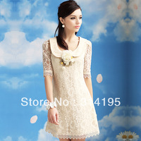 Plus Size S,M,L,XL wholesale 2013 lace dress women lace one-piece dress with cute design high quality bl10249 Free\Drop Shipping