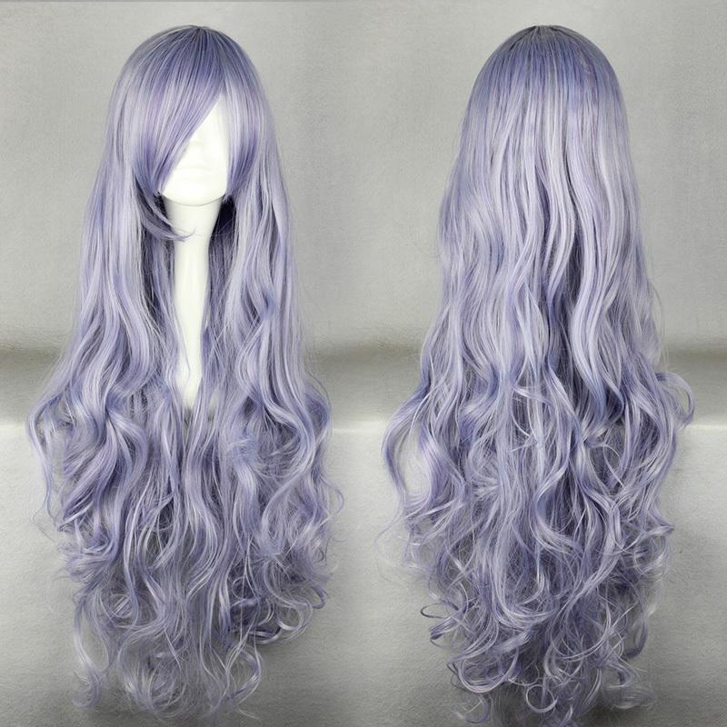 Мода 90 см длинными вьющимися Rozen Maiden светло-фиолетовый косплей костюм парик для женщин девушка