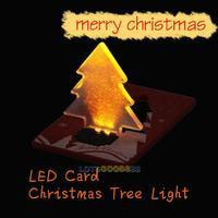 LS4G Christmas Decoration Pocket Folding Xmas Tree Shape LED Light Credit Christmas Card