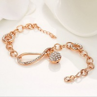 new crystal series women accessory simple link gold plated bracelets delicate design luxury fashion jewelry free shipping