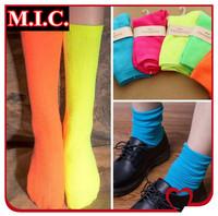 Free shipping fashion Brand Fluorescent socks Japan and Korea women girls' candy colors cotton elastic socks 6 pcs/lot