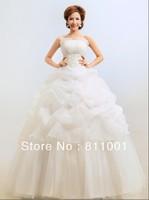 free shipping 2013 White Sexy Off shoulder flower bride wedding sweet princess Slim  elegant  wedding dress
