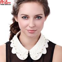 Free shipping girl Accessories 2014 peter pan collar ruffle lace gentlewomen collar beaded false collar chain female women