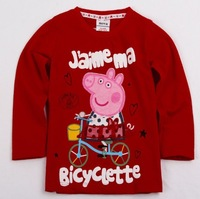 NEW STYLE free shipping nova peppa pig long sleeve top t shirt red 100% cotton t shirt tees red