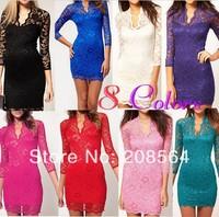New Fashion Ladies' Sexy Slim Flower V-Neck Middle 3/4 Sleeve Women's party evening elegant Mini Lace Dress   400