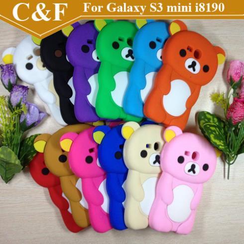 New 3D Cute Cartoon Rilakkuma Bear Silicone Skin Case For Samsung Galaxy S3 MINI i8190 + Free shipping(China (Mainland))