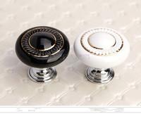Free Shipping  Zinc Alloy Black Ceramic Cabinet Knob Door Knobs  White Drawer Pulls
