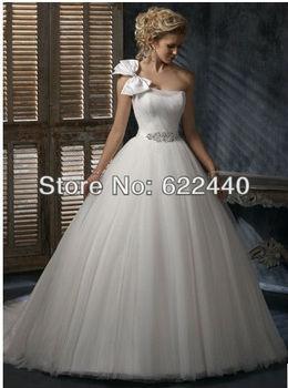 Модный Стиль One Плечи With Bow Ball Gown Свадьба Dresses Custom Размер
