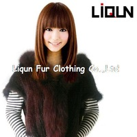 100%handmade real fur autumn and winter female mink knitted outerwear