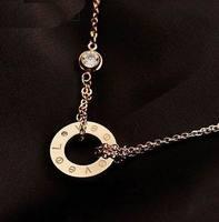 Rose gold screws sparkling rhinestone necklace Women Jewelry