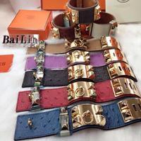 High quality 1. 1 gold and silver bracelets genuine leather bracelet adjustable cbd rivet women's punk bracelet
