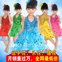 new  girl dress children dance costume female child paillette tulle dress modern performance wear