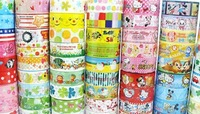 Free Shipping Wholesale 15mm Cute Cartoon mix Color Tape Stick Stationery Office Adhesive DIY 006019(1)