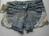 Hotselling Lace Patchwork Ladies Fashion Denim Shorts Ripped Destroyed Jean Short Pant For Women Freeshipping#DS016-15