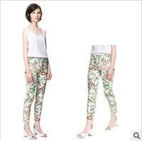2013 New Style European Ladies' Fashion Flower Grass Printed High Waist Pencil Pants,Women' Casual Seven Capris Trouser kz15